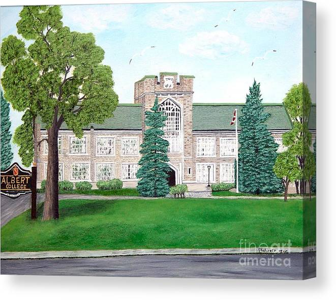 School Paining Canvas Print featuring the painting Albert College by Peggy Holcroft