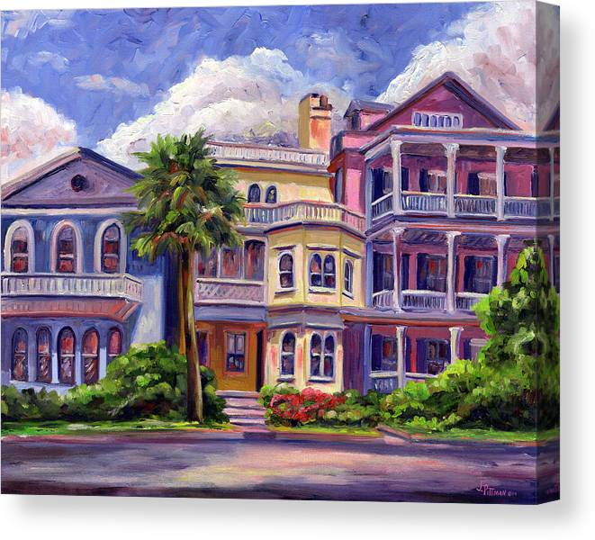 Colorful Historic Houses On The Charleston South Battery With Pastel Color And Blue Skies.. Canvas Print featuring the painting Charleston Houses by Jeff Pittman