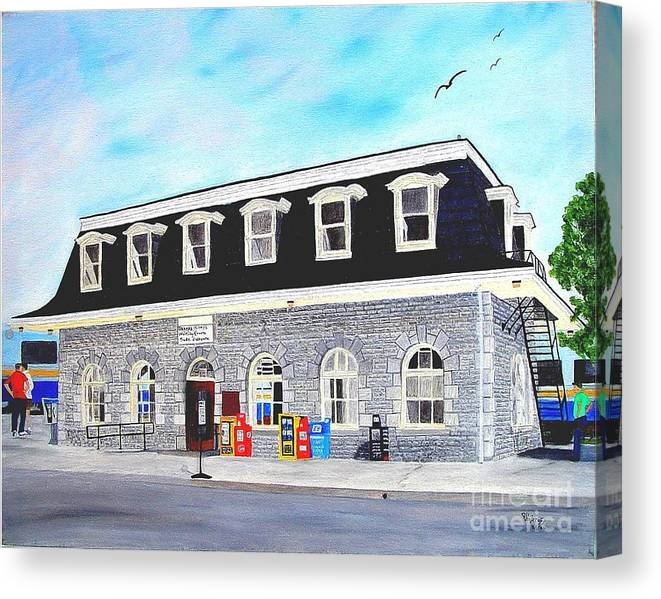 Oldest Cn / Grand Trunk Station In Canada Painting Canvas Print featuring the painting CN Station Belleville Circa 1856 by Peggy Holcroft