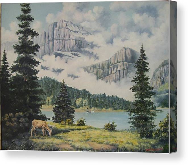Glacier Nat. Park Canvas Print featuring the painting Morning At The Glacier by Wanda Dansereau