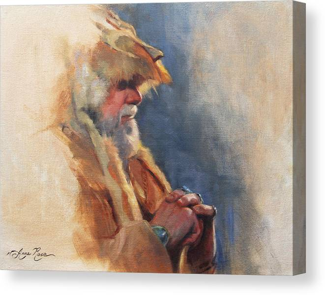 Mountain Canvas Print featuring the painting Mountain Man by Anna Rose Bain