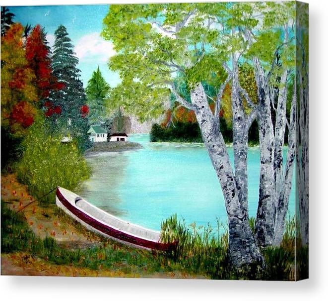 Beautiful Bracebridge Ontario Oil Painting Canvas Print featuring the painting Summer In The Muskoka's by Peggy Holcroft