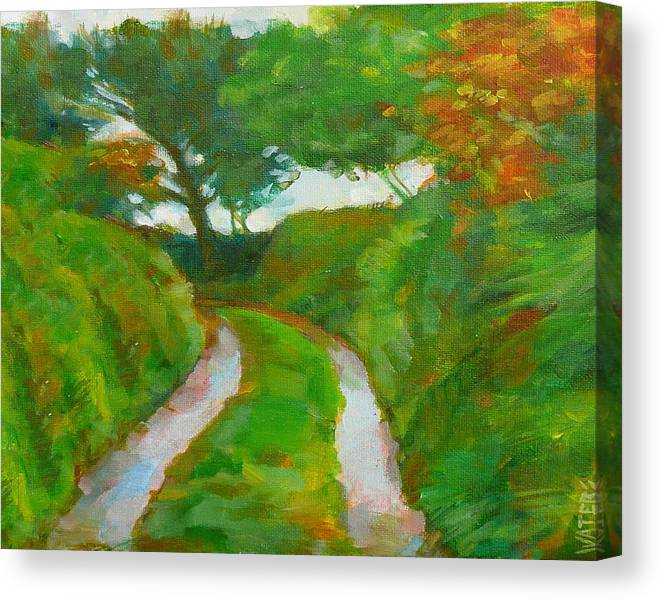 Redruth Cornwall Landscape Canvas Print featuring the painting Trefula Lane by Scott Waters