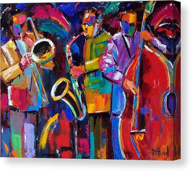 Jazz Canvas Print featuring the painting Vibrant Jazz by Debra Hurd