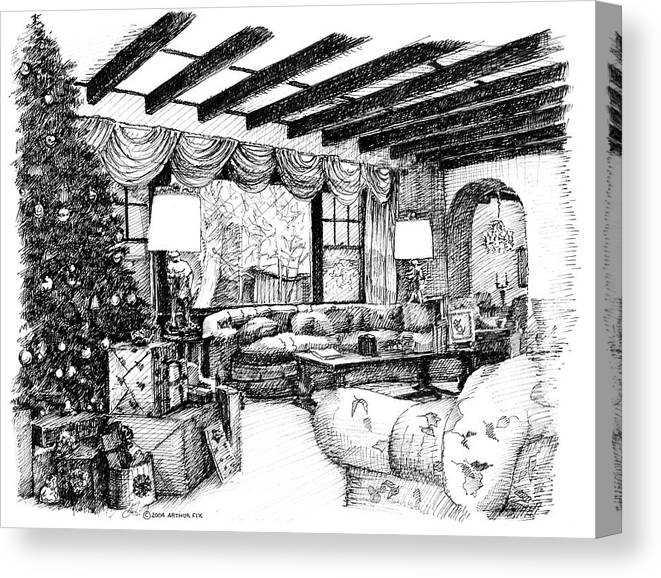 Christmas Canvas Print featuring the drawing Christmas Home by Arthur Fix