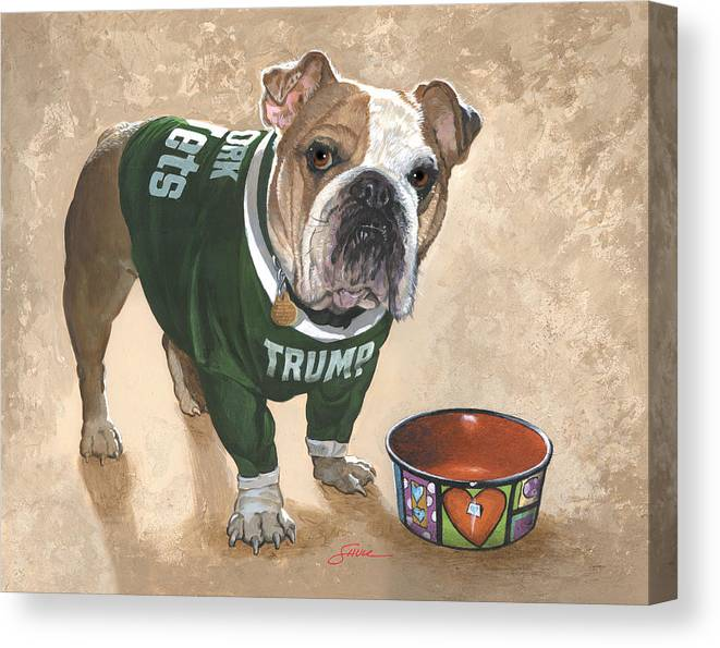 English Bulldog Canvas Print featuring the painting Whats For Dinner by Harold Shull