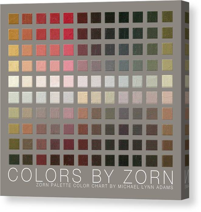Zorn Color Palette Canvas Print featuring the painting Colors By Zorn by Michael Lynn Adams