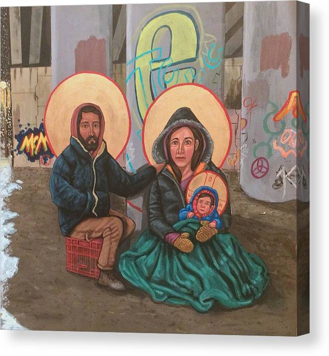 Canvas Print featuring the painting Holy Family of the Streets by Kelly Latimore