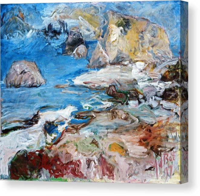 Landscape Sea Rocks Mythology Cyprus Canvas Print featuring the painting Aphrodites Rock by Joan De Bot