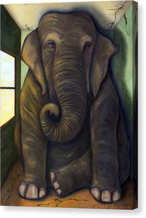 Limited Time Promotion: Elephant In The Room Stretched Canvas Print