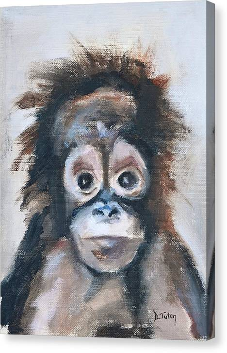 Limited Time Promotion: Baby Orangutan Safari Animal Painting Stretched Canvas Print