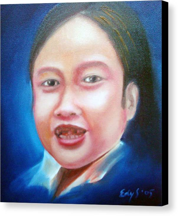 Toothless Canvas Print featuring the painting Toothless Girl by Edy Sutowo