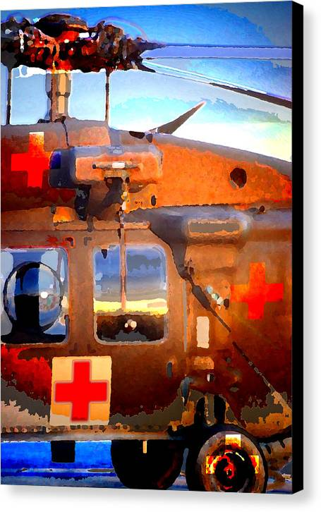Canvas Print featuring the digital art Helicopter by Danielle Stephenson