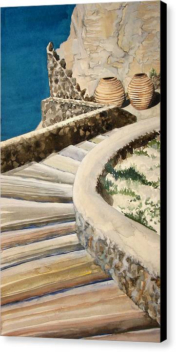 Watercolor Canvas Print featuring the painting Greekscape 3 by Caron Sloan Zuger