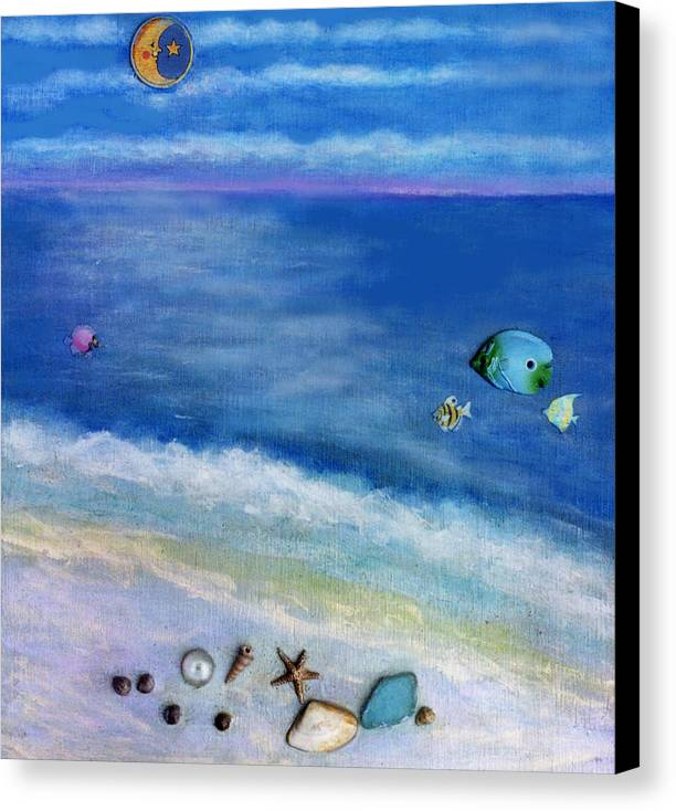 Beach Canvas Print featuring the painting Three Beaches C by Mary Ann Leitch