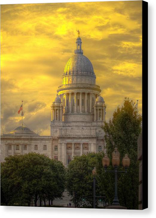 Rhode Island Canvas Print featuring the photograph Statehouse At Sunset by Jerri Moon Cantone