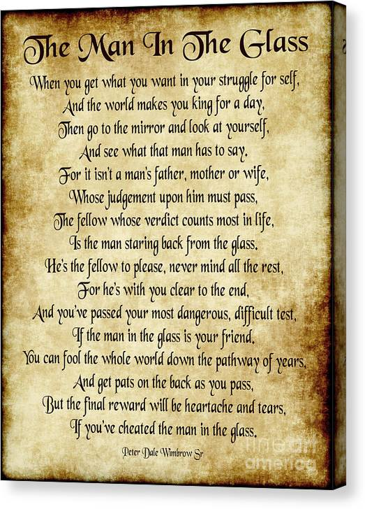 The Man in the Glass Poem - Antique Parchment by Ginny Gaura
