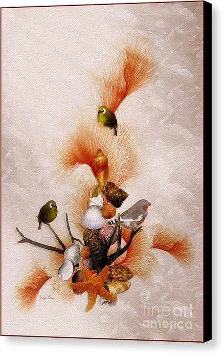 Shells Birds Seashore Tropical Coastal Peach Starfish Canvas Print featuring the painting Morning Song by Carolyn Staut