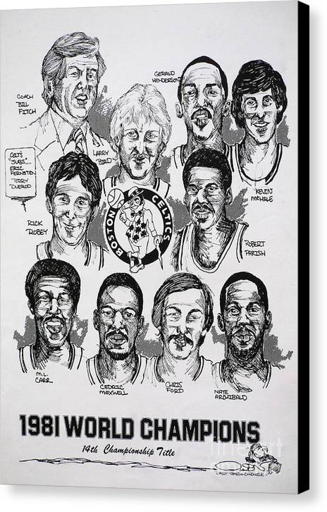 Nba Canvas Print featuring the drawing 1981 Boston Celtics Championship Newspaper Poster by Dave Olsen