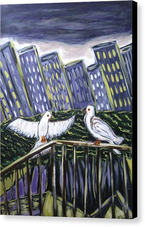 Animals Canvas Print featuring the painting Dos Doves by Albert Almondia
