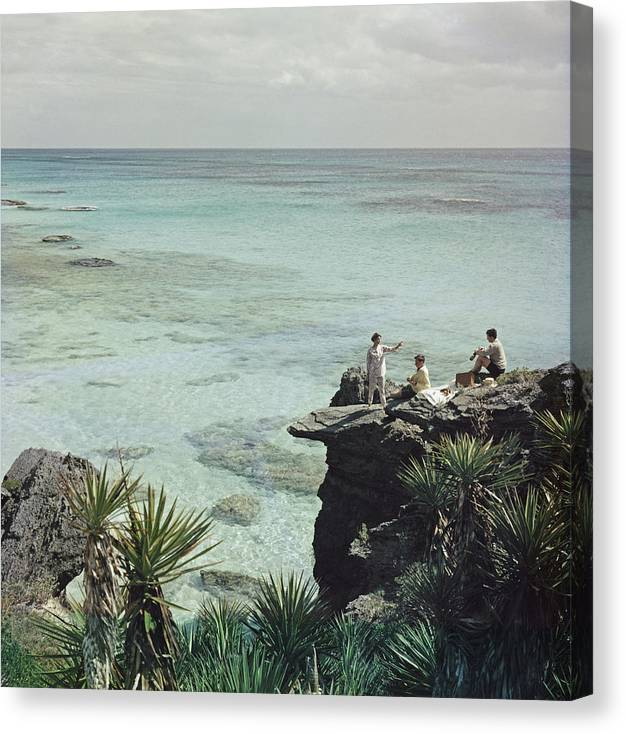 People Canvas Print featuring the photograph A Nice Spot For Lunch by Slim Aarons