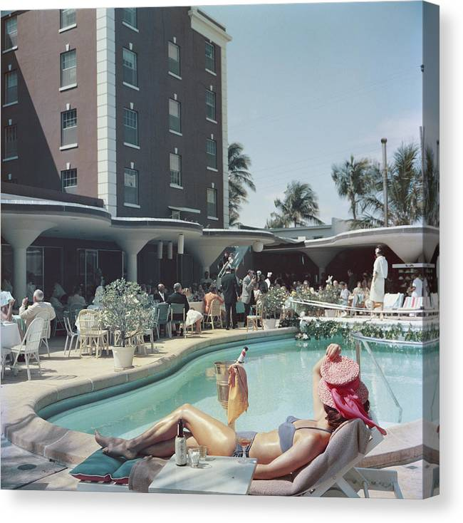 People Canvas Print featuring the photograph Palm Beach by Slim Aarons