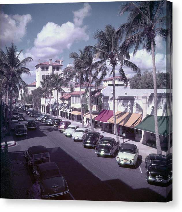 1950-1959 Canvas Print featuring the photograph Palm Beach Street by Slim Aarons