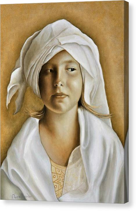 Portrait Canvas Print featuring the painting Angelinn by Nanne Nyander