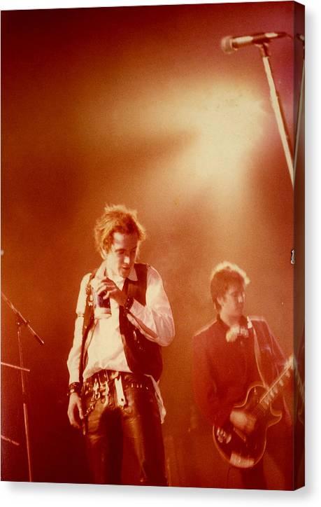 Sex Pistols  Punk Rock  Johnny Lydon  Johnny Rotten Steve Jones Canvas Print featuring the photograph Johnny Rotten and Steve Jones by Dawn Wirth