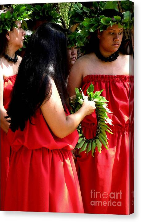Hula Canvas Print featuring the photograph Kukui Dancers by James Temple