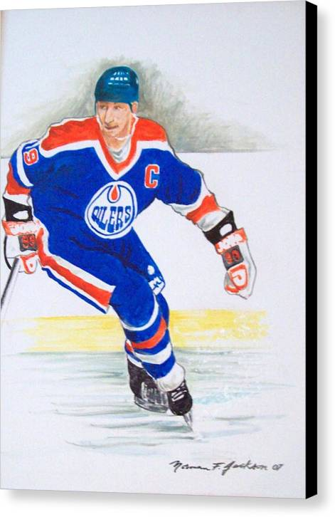 Hockey Canvas Print featuring the painting The Great One by Norman F Jackson