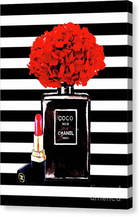 Chanel Poster Chanel Print Chanel Perfume print Chanel with red Hydragenia 3 by Del Art