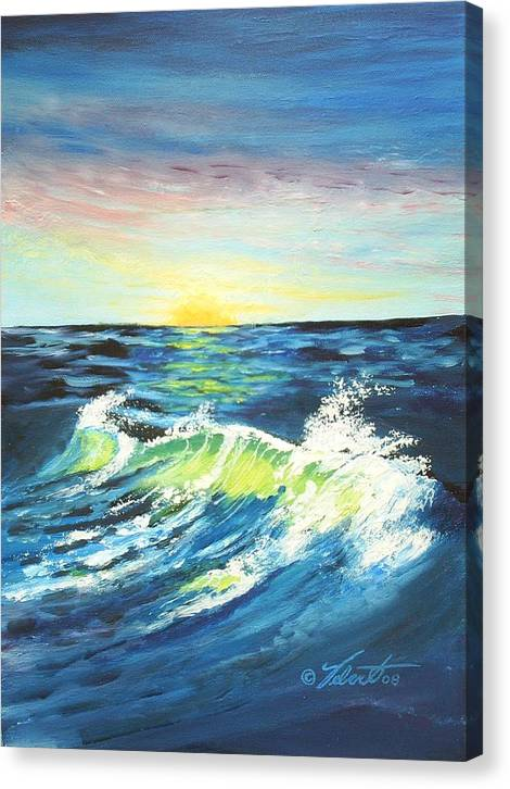 Landscape Canvas Print featuring the painting Wave By Early Light by Dennis Vebert