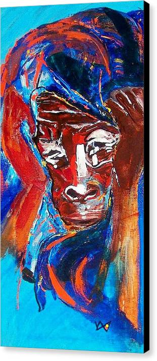 Darfur Canvas Print featuring the painting Darfur - She Cries by Valerie Wolf