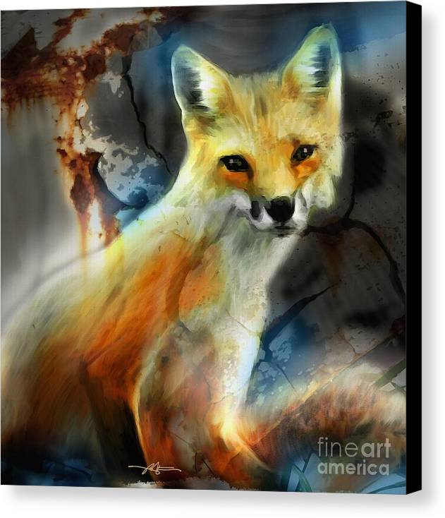 Fox Canvas Print featuring the painting Foxy Baby by Bob Salo