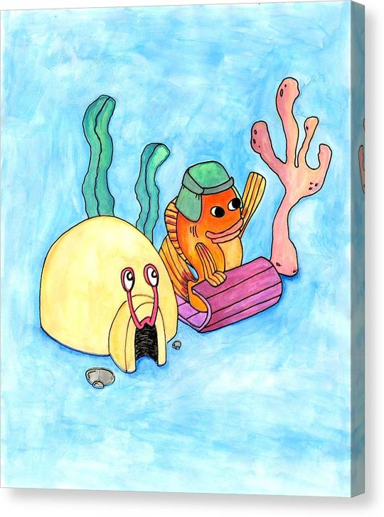 Canvas Print featuring the painting Sledding Fish by Jessica Kauffman