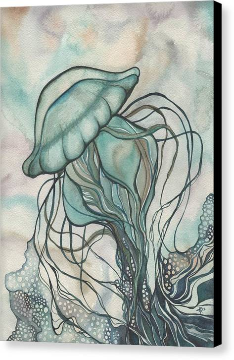 Marine Canvas Print featuring the painting Black Lung Green Jellyfish by Tamara Phillips