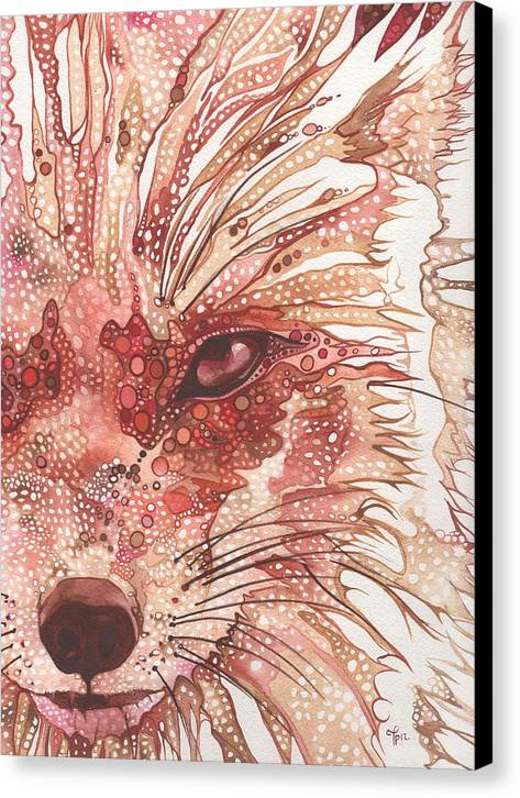 Fox Canvas Print featuring the painting Fox by Tamara Phillips