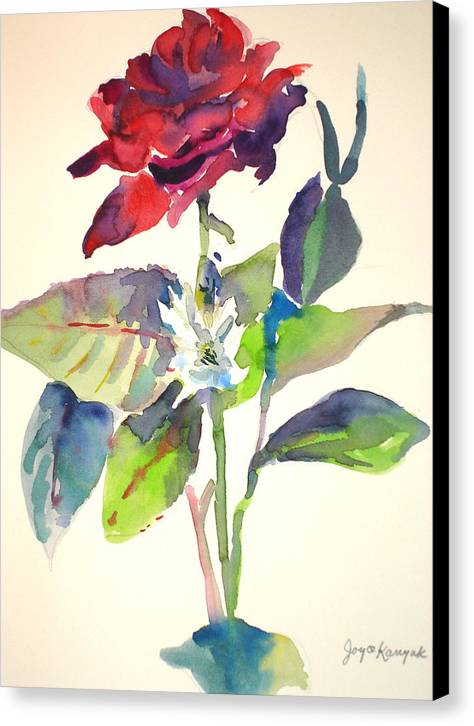 Rose Canvas Print featuring the painting A Rpse by Joyce Kanyuk