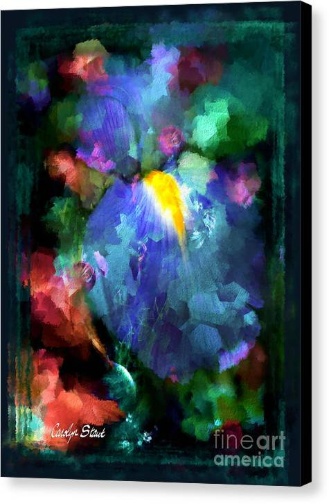 Abstract Foral Abstracts Blue Iris Wall Art Canvas Print featuring the painting Dancing Iris by Carolyn Staut