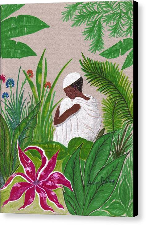 Canvas Print featuring the mixed media In The Garden by Bee Jay