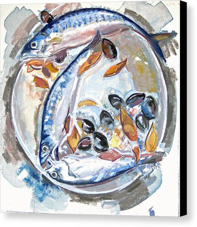 Still Life Canvas Print featuring the pastel Mackerel Mussels Leaves by Grace Keown