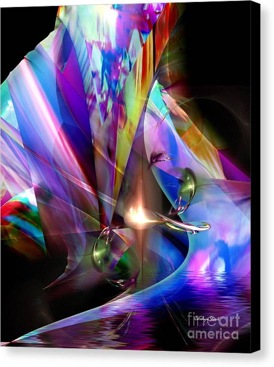 Abstract Bright Colors Digial Abstract Canvas Print featuring the digital art The Lamp Light by Carolyn Staut