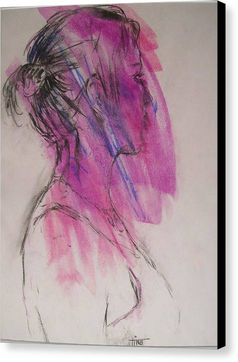 Portrait Canvas Print featuring the painting Magenta by Tina Siddiqui