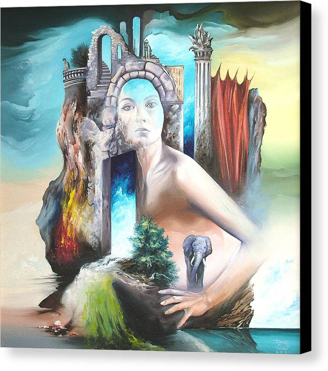 Canvas Print featuring the painting Enchanted Island by Zoltan Ducsai