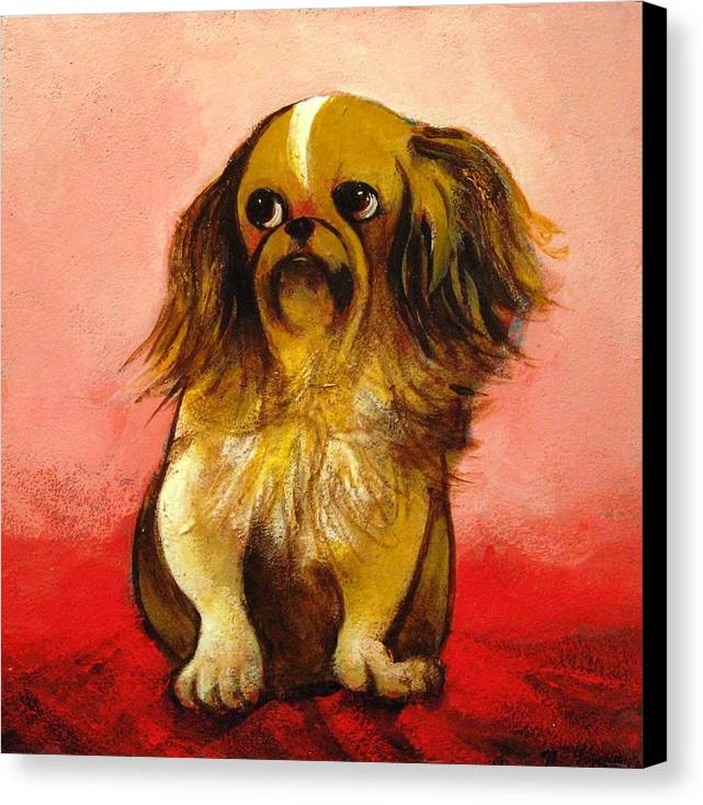Dog Canvas Print featuring the painting Pekinese by Christine McGinnis