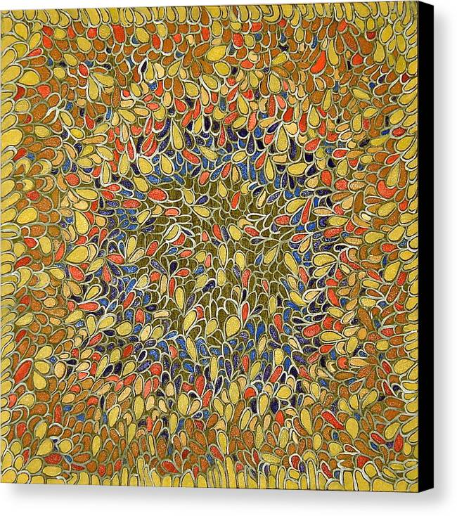 Abstract Yellow Canvas Print featuring the painting Web Of Life by Ani Magai
