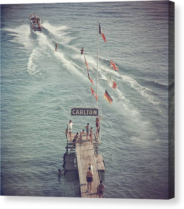 People Canvas Print featuring the photograph Cannes Watersports by Slim Aarons