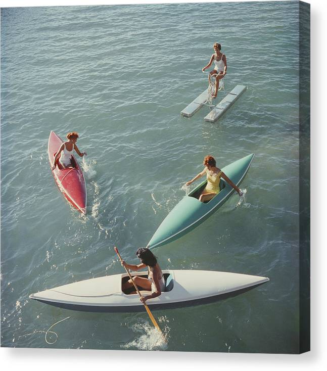Pedal Boat Canvas Print featuring the photograph Lake Tahoe Trip by Slim Aarons