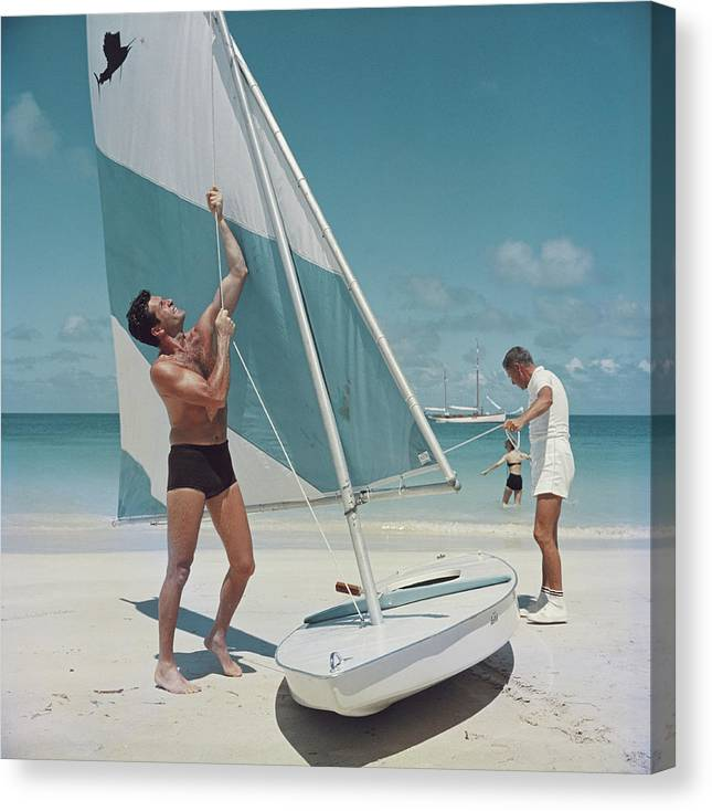 Hugh O'brian Canvas Print featuring the photograph Boating In Antigua by Slim Aarons